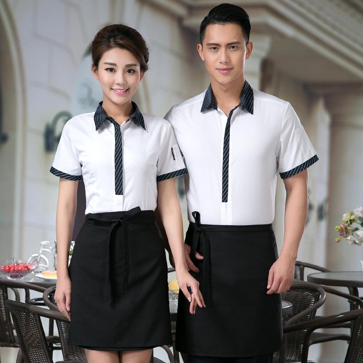 Hotel Restaurant Female Waitress Work Clothes Shirt Summer Cafe Hot Pot Shop Uniform Short-sleeved Barbecue Waiter Jacket H2334