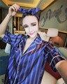 Rosa roxo Listrado Pijamas Loungewear Das Mulheres 2016 Seda 3 Peças Terno em Casa E Headband do Pijama Sleepwear Pijama Pijama Femme