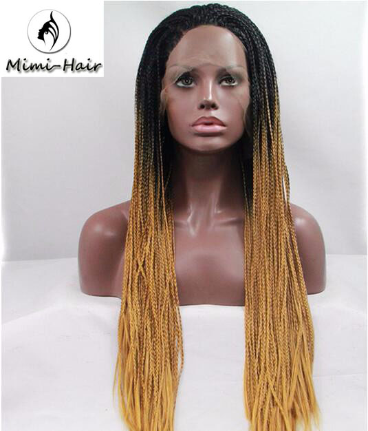 Heat Resistant Black Root Ombre Blonde Braided Synthetic Lace Front
