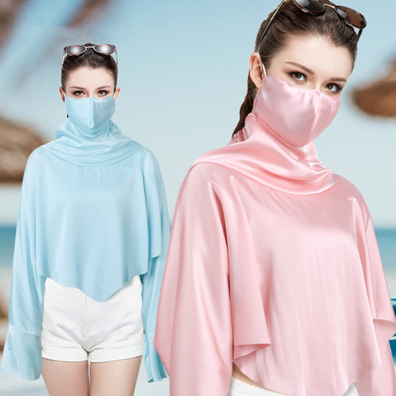 Women Cape Type Sunscreen Shawl&Mask Summer Outdoor Sports Travel Bike Drive Ice Silk Sun Protection Clothing Female Pashmina stylish stripe pattern fringed shawl wrap pashmina