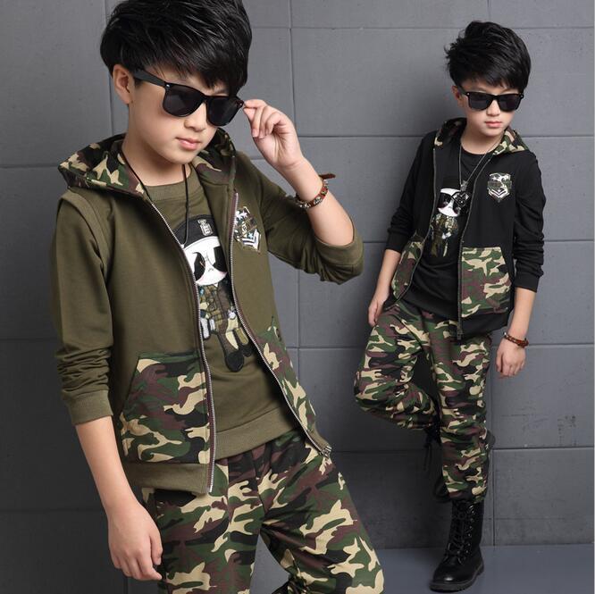Vêtements d'automne pour enfants coton Zipper beau Vetement Enfant gilet ensemble Camouflage trois pièces garçons ensemble en automne