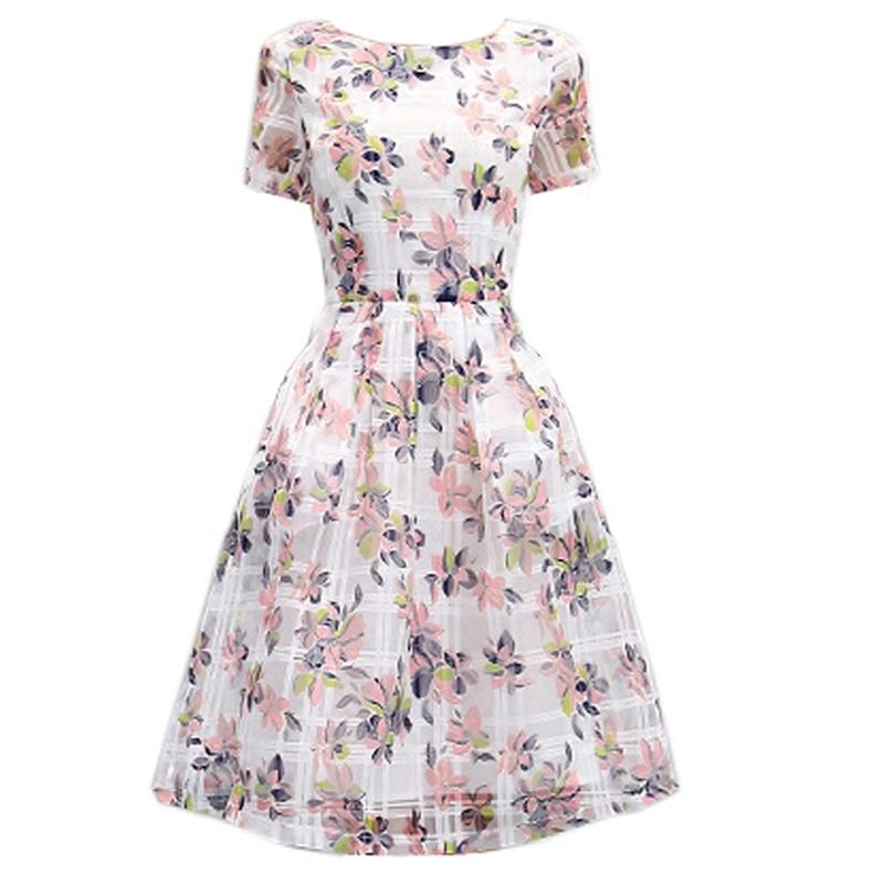 Popular high quality summer fashion women's knee length print dress