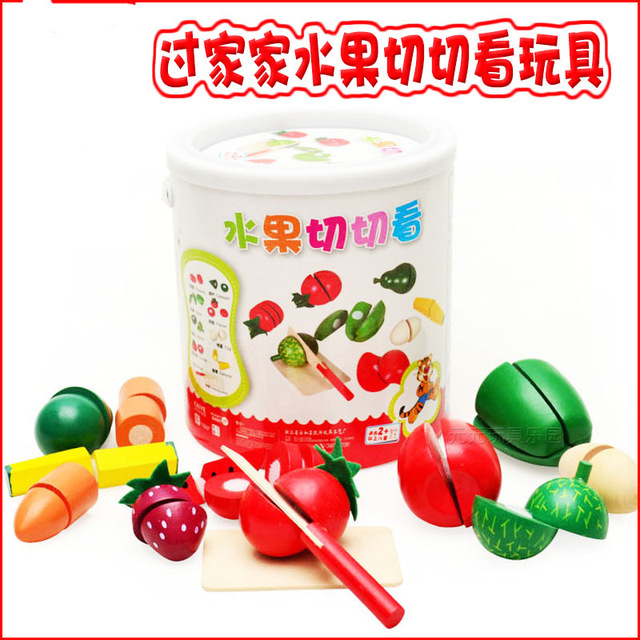 Fruits and vegetables and the wooden barrel simulation Fancy children began to play toy  Kitchen Wooden Toys