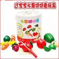 Simulação de frutas e legumes e do barril de madeira crianças Fantasia começou a jogar Brinquedos de Cozinha de brinquedo De Madeira