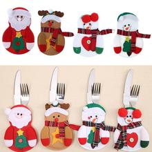 Christmas Bag Dinner Table Cutlery Holder Decoration for Home Snowman Santa Claus Knife Fork Holder Navidad Natal Supplies