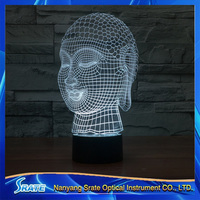 3D Vision Buddhism Buddha 7 Colorful Gradients LED Acrylic Plate Desk Lamp Bedroom Decoration Night Light