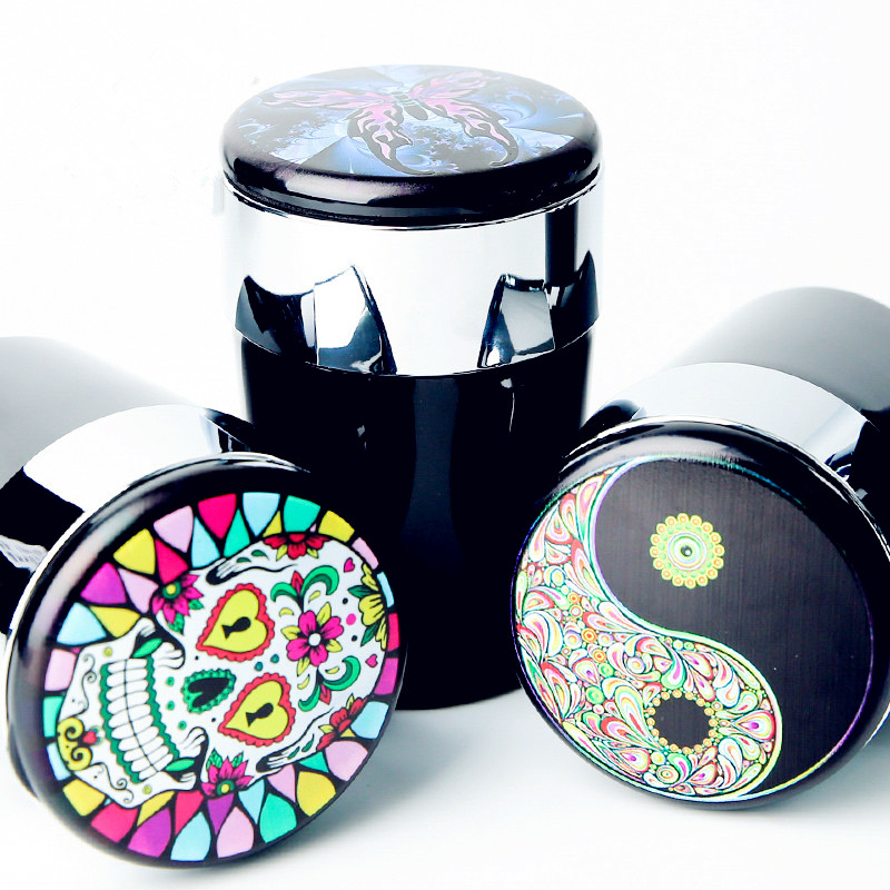 LED Light Car Ashtray Cigar Ash Tray Cigarette Holder Skull Rainbow Butterfly Printing Pattern Storage Cup Interior Accessories