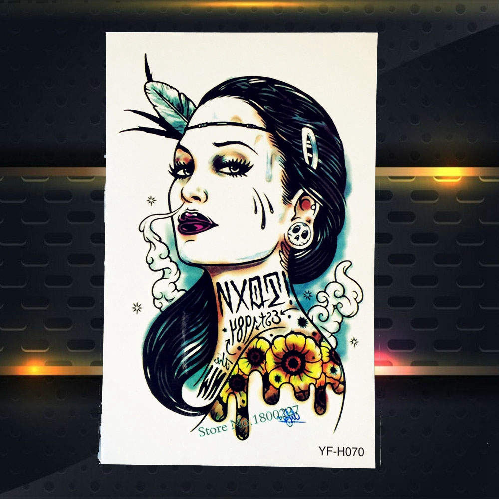 1PC Cool Flash Fake Arm Tattoo Punk Women Smoking Design Temporary Tattoo Sticker For Men Waterproof Body Leg Art Decals PYFH070
