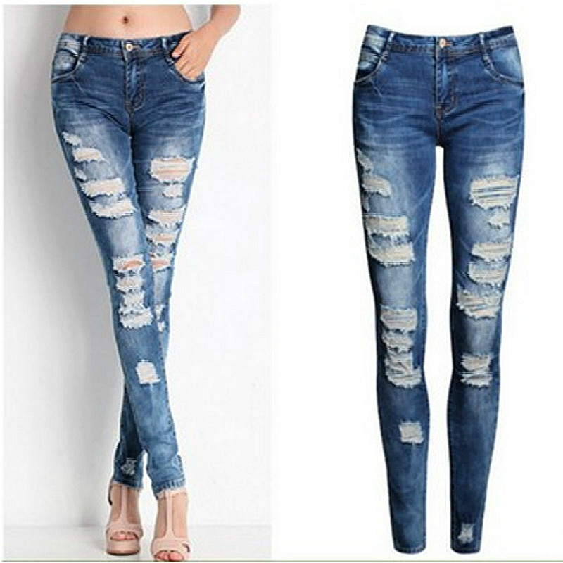 Buy Boyfriend Jeans For Women Jeans Holes Woman Skinny Jeans Mujer Female Slim Cotton Pants Legging Elastic High Quality 2016 for $7.50 in AliExpress store