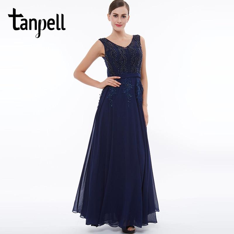 Tanpell long v neck evening dress dark navy sleeveless appliques beaded a line dresses women graduation prom formal evening gown