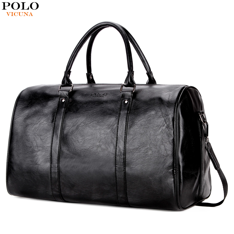 все цены на VICUNA POLO Casual Men's Travel Bags Handbags Large Capacity Shoulder Bag Solid Travel Duffle For Male High Quality Leather Bag онлайн
