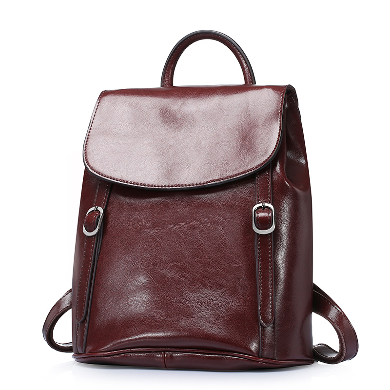 WILIAMGANU Genuine Leather Backpacks For Teenage Girls Bags Vintage backpack women Waterproof travel backpack female