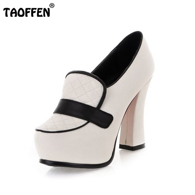 c5647b1c32e5 2016 Spring Fashion Women High Thick heel Shoes Vintage Grid Red Bottom  Patching Pumps Causal Platform Pumps Women Shoes Summer