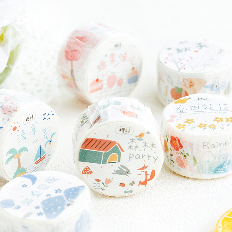 1pcs Cute Multi-series Washi Tape DIY Decoration Scrapbooking Planner Masking Tape Adhesive Tape Label Sticker Stationery