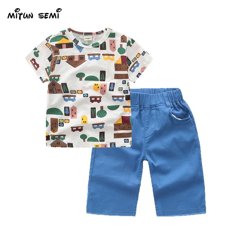 Mitun Ctive Boys Sets Boy Shorts Cartoon Suits Summer Short Sleeve T shirt Pants 2 Pieces