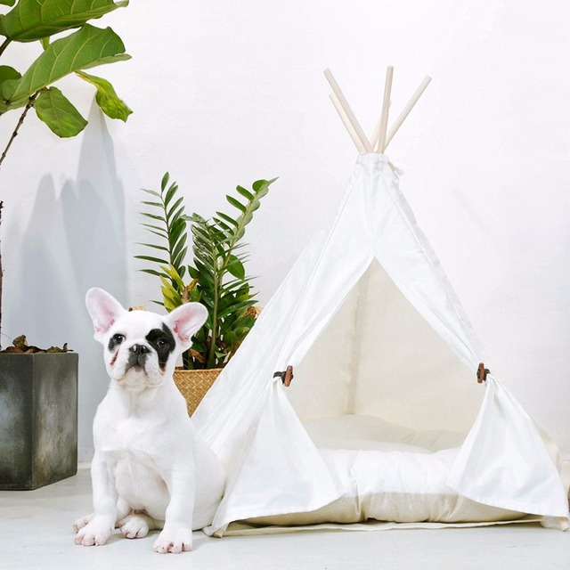 Comwarm White Pet Teepee House Pet Bed Cat Bed Pet House Portable Dog Tents Pet House Bed for Small Dogs ( with Cushion ) 1