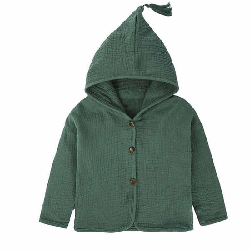 Áo Sơ Mi Cô Gái Áo Khoác Trẻ Em 2018 Mới Bé Trai Quần Áo Tua Hat Thiết Kế Cotton Linen Trẻ Em Cardigan 1-6Y Áo Chập Chững Biết Đi
