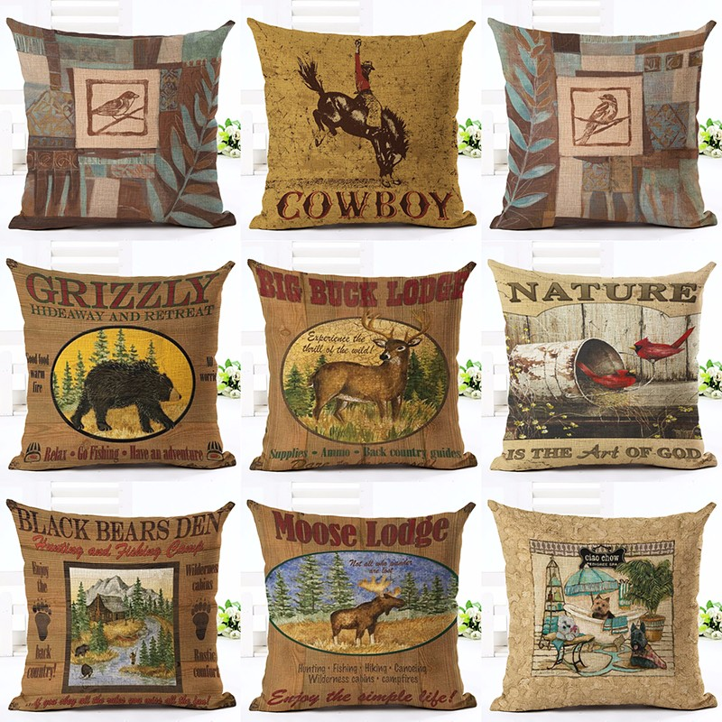 Charming Vintage Animal Style Pattern Cushion Cover Sofa Decorative Linen Vintage  Throw Pillows Case Waist Pillow Free Shipping