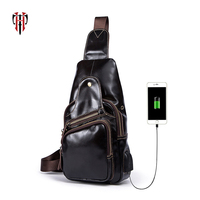 TIANHOO 100%Genuine leather men bags smart phone usb charge port chest bag crossbody shoulder bags PAD/Book pockets cow leather