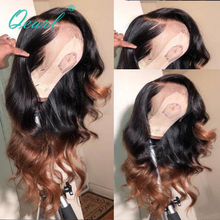 Deep Long Side Parting Brazilian Lace Front Human Hair Wigs PrePlucked ombre black brown color Remy Wavy Glueless Wig Qearl