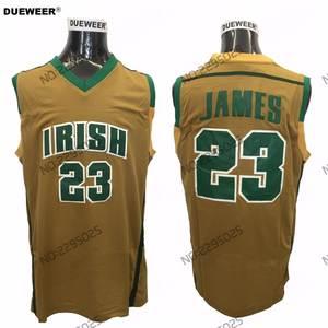 bc3441229ee DUEWEER LeBron James Stitched Jerseys High School Irish 23 LeBron James  Basketball
