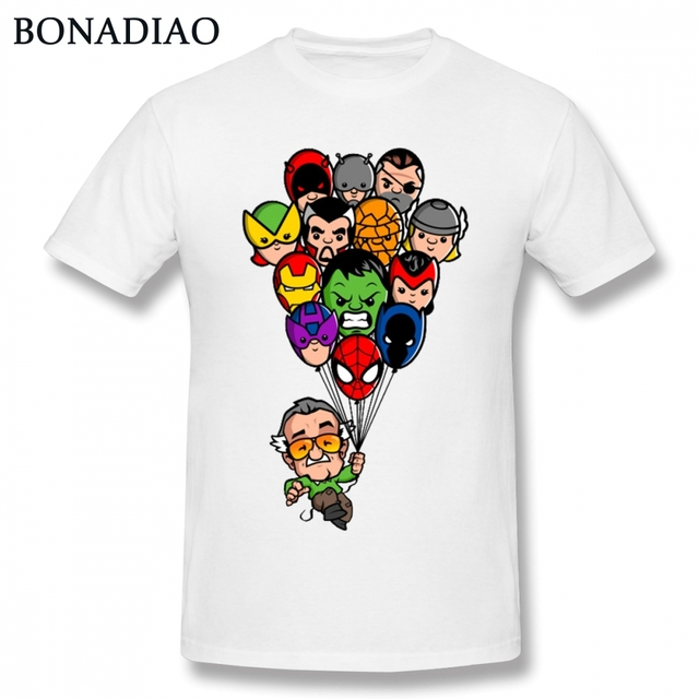 aba38f25 Funny Balloon Marvel Stan Lee T Shirt Men Cartoon Style Super Hero  Spiderman Iron Man Crewneck Tee Shirt Free Shipping