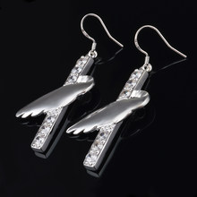 925 sterling silver woman earrings angel wings female silver earrings pendulum zircon earrings jewelery gifts(China)