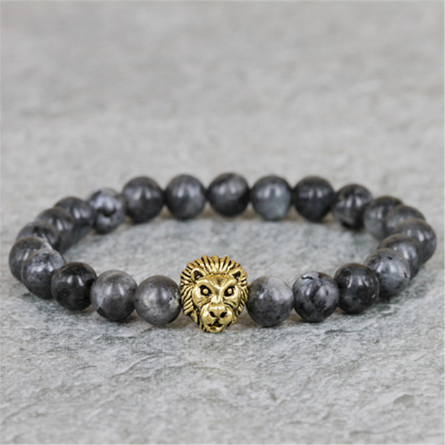 2017 New Design Men's Bracelets,8mm Grey Labradorite Stone Bead Bracelet ,Antique Silver and Gold Color Lion Head Bracelets