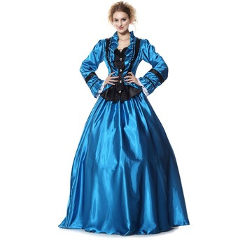 Vintage Blue Lace Maxi Dress Women Ruffled Princess Costumes Dress