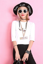 Fashion temporary elastic slim fundamental fifth sleeve spherical neck T-shirt feminine