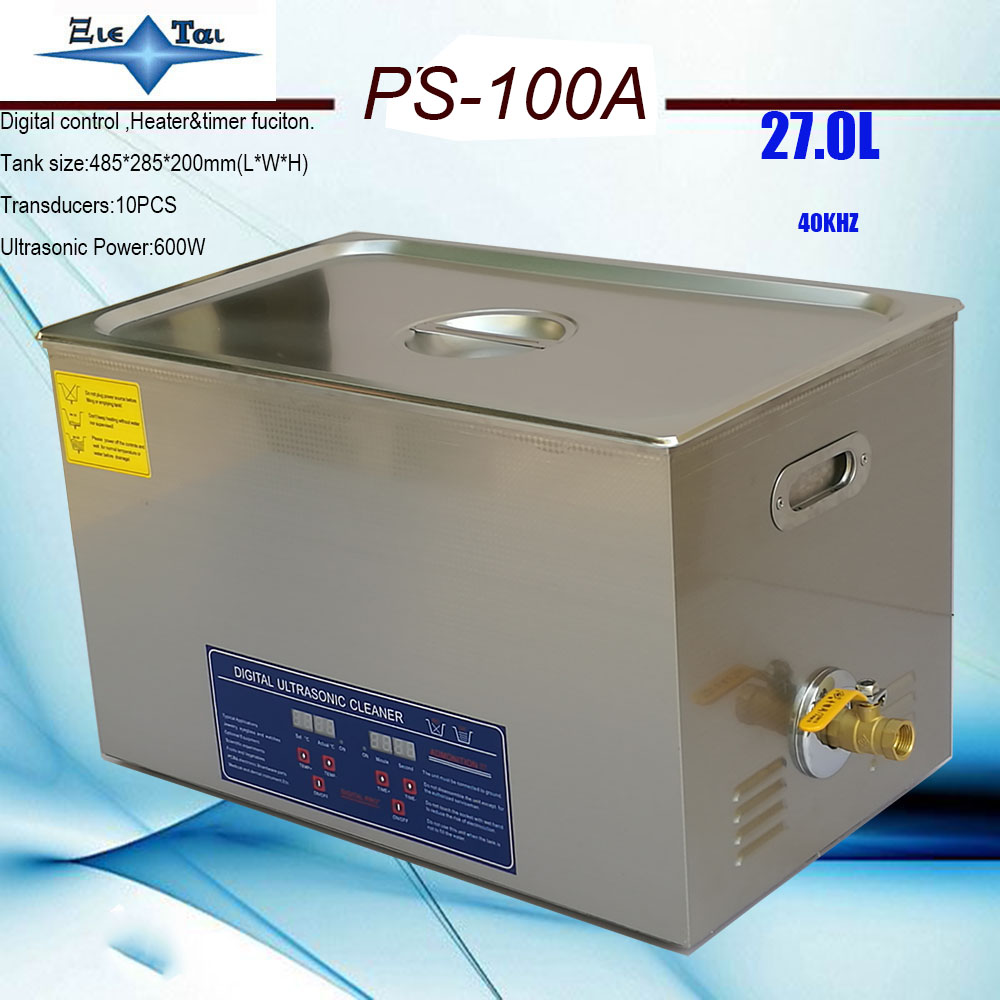 local free shipping EU RU AU AC110V 220V 40KHz 600W PS 100A Ultrasonic Cleaner 27L drainage
