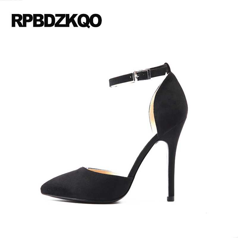 34 Strap Prom 33 Shoes Stiletto Sandals Ankle 4 Classic Pumps Heels Suede Black High Size Dress Pointed Small Ladies 2017 Toe UzGLqpjVSM