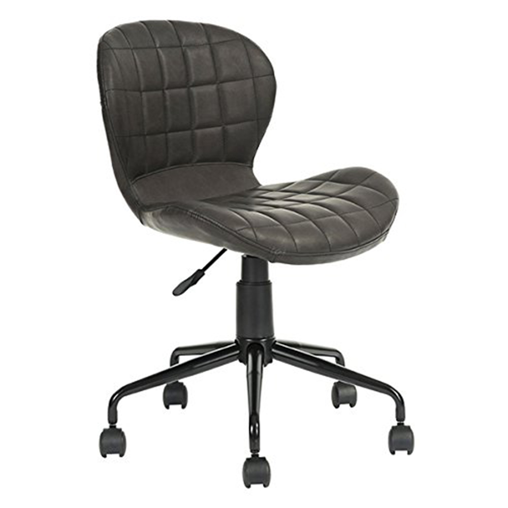 EGGREE  Office Chair Computer Chair height adjustable faux leather upholstered 78.5-89 cm, black