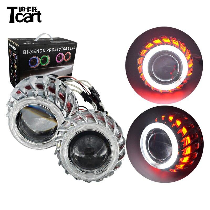 Tcart 1 Set nouveau phare voiture LED Auto style 2.8 pouces Double CCFL Angel Eyes Halo anneau lentille pour HID phare bi-xénon kit de lentilles