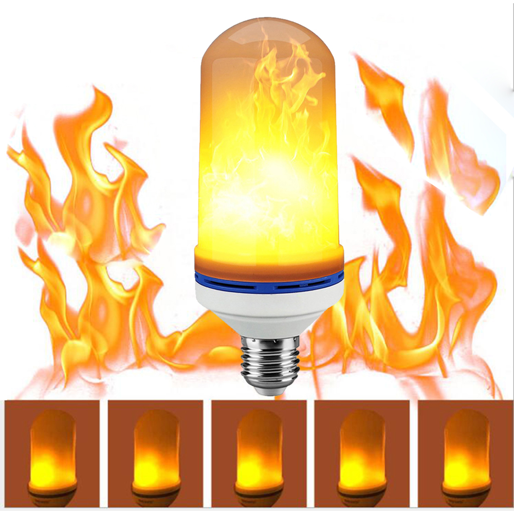 YZKJ 7W LED Flame Effect Fire Light Bulbs Flickering Emulation Decorative Lamps Simulated Vintage Flame E27 Bulb for Club Bar energy efficient 7w e27 3014smd 72led corn bulbs led lamps