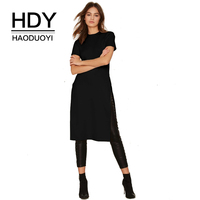 HDY Haoduoyi Womens Black White Short Sleeve T Shirt Side Slit Long Tops Ladies Fashion Slim