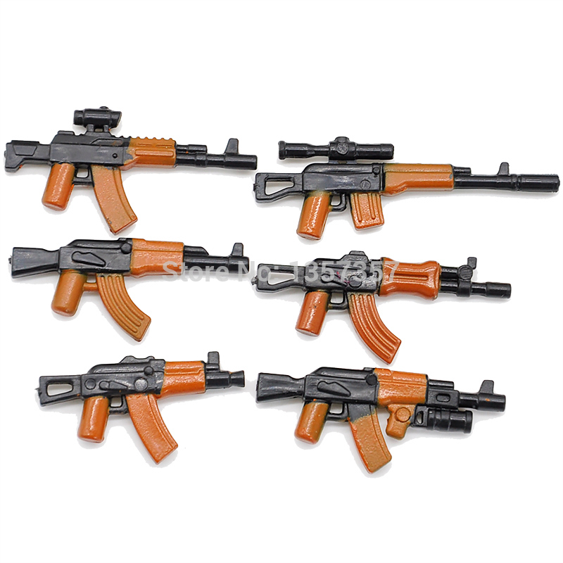 6pcs/set Military Series 2.8cm AK Weapons Cannon Bricks Parts Army Police SWAT Block Gun Building Blocks Models Toys police station swat hotel police doll military series 3d model building blocks construction eductional bricks building block set