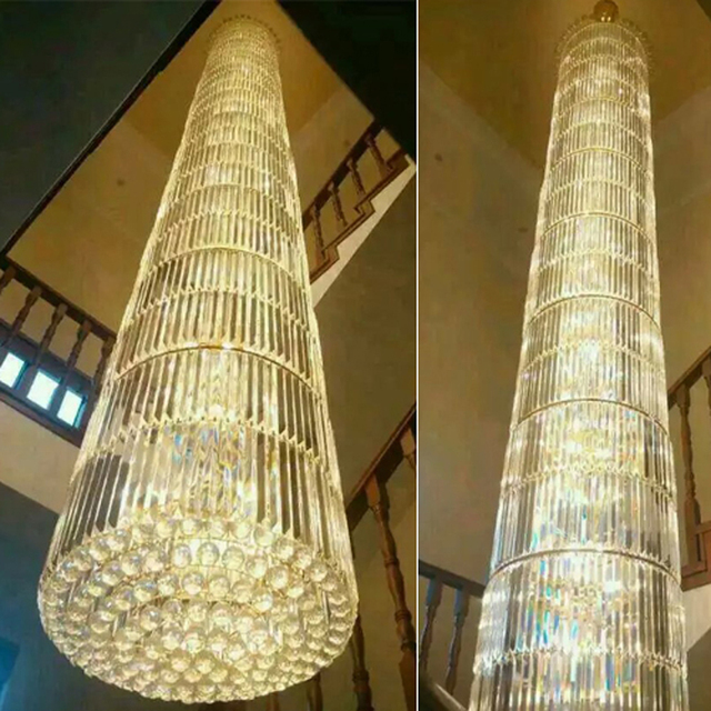 Modern Stair Long Crystal Round Chandeliers Lamps Spiral Upscale High Ceiling Chandelier Lighting Stairway