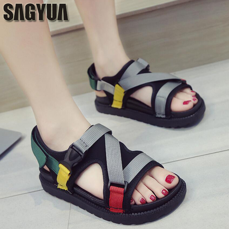 Students Summer Sandales Women Mujer Fashion Casual Roman Gladiator Soft Sole Mesh Air Sandals Buckle Ankle Sandalias Shoes T570