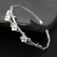 925 Sterling Silver Plum Flower Open Bracelets Bangles High Quality Elegant Lady Sterling Silver Jewelry Pulseira