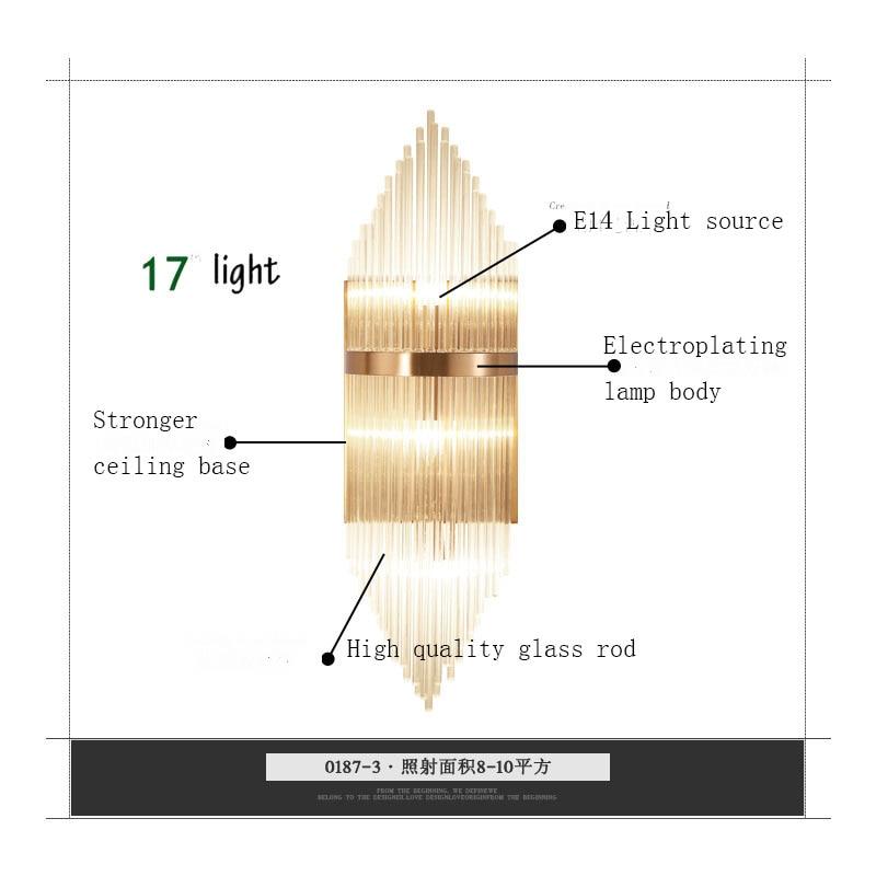 Applique moderne corps en métal plaqué avec matériau en verre couleur dorée pour chambre salon style créatif et mode - 5