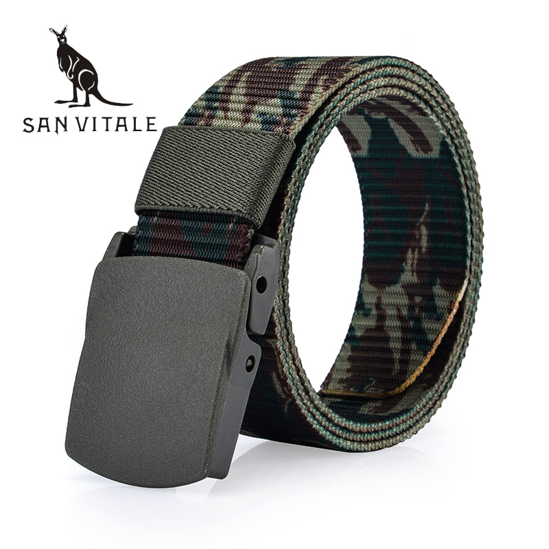 <font><b>SAN</b></font> <font><b>VITALE</b></font> Automatic Buckle Nylon <font><b>Belt</b></font> Male Army Tactical <font><b>Belt</b></font> Mens Military Waist Canvas <font><b>Belts</b></font> Cummerbunds High Quality Strap image