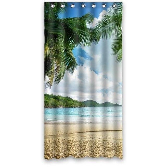 Custom Unique Design Palm Tree Beach Sea Cloud Waterproof Fabric Shower Curtain 72 By 36