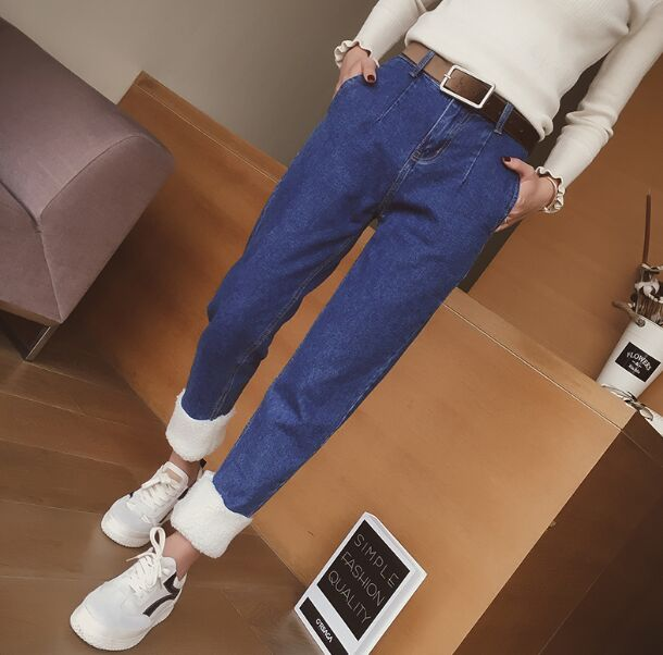 Fleece Woman 2017 High Waist Winter Warm <font><b>Jeans</b></font> Women Denim Pencil Pants <font><b>Jean</b></font> Femme Plus <font><b>Velvet</b></font> Skinny <font><b>Jeans</b></font> Trousers