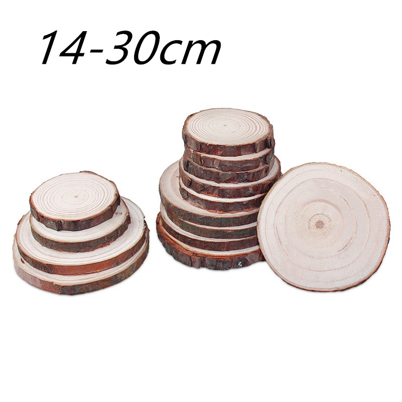 14-30cm Unfinished Natural Round Wood Slices Circles With Tree Bark Log Discs For Diy Crafts Painting Photograph Decoration
