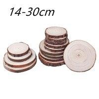 14-30 см необработанные натуральные круглые деревянные пластинки круги с деревом коры деревянные подставки для Diy ремесла живопись фотографи...