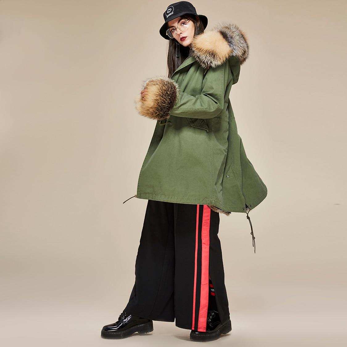 Véritable 1 D'hiver À other Veste Chaud Capuche Parka Nouvelle Mode Renard 2018 Jazzevar Militaire Luxe Col Color De Femmes Manteau Lapin Fourrure Doublure fXA1Hq