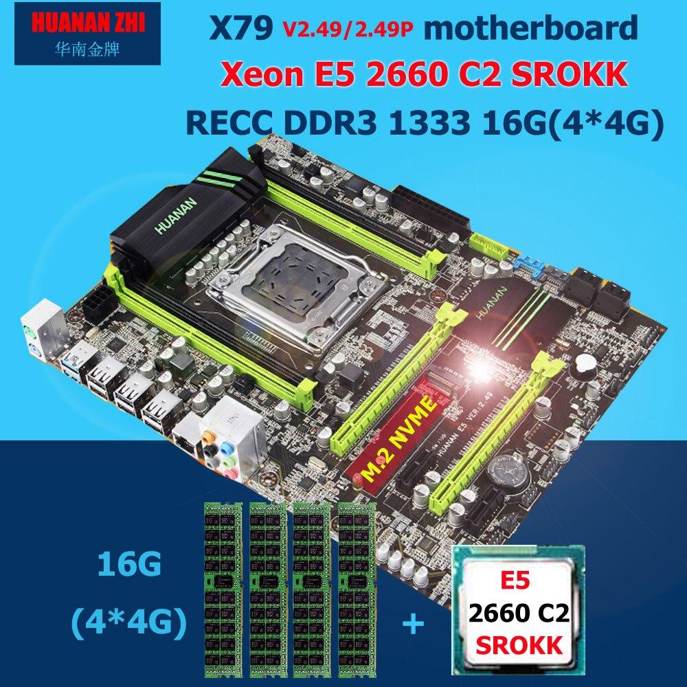 HUANAN ZHI X79 Placa base con M.2 ranura descuento nueva placa base con CPU Intel Xeon E5 2660 C2 SROKK RAM 16G (4*4g) DDR3 RECC