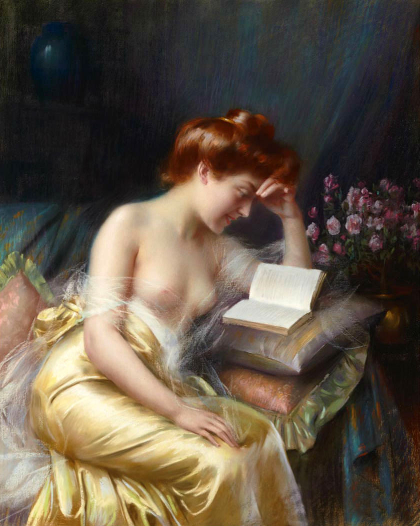 Beautiful Oil Painting Nude Young Girl Reading Book On -9673