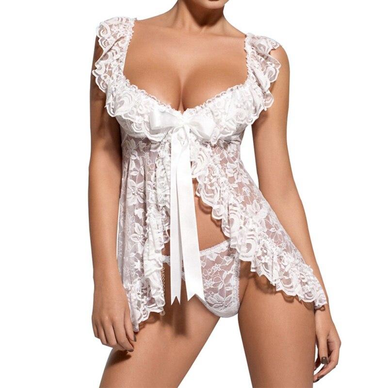 Lace Sexy Lingerie Dress Women Homewear Night Gowns + G-string Sexy Panties Nightwear Sleepwear Sets